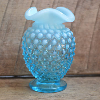 Vintage Blue Opalescent Mini Vase with Hobnail Pattern and Ruffle Top