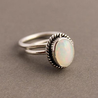 Ethiopian opal ring - Natural Opal - Artisan ring - Bezel set ring - Gemstone ring - October Birthstone - Gifts