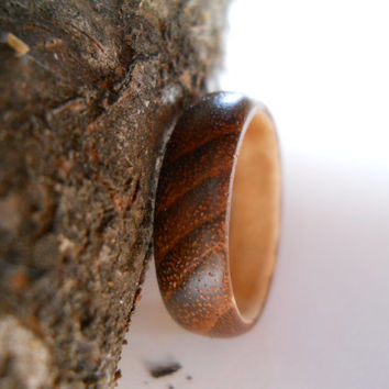 Solid teak wood ring with maple band, custom, handmade