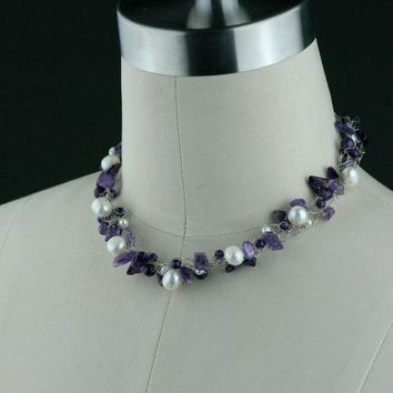 Chunky crocheted wiring Amethyst Pearl choker necklace Bridesmaid gifts Free US Shipping handmade Anni designs