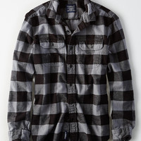 AEO Plaid Flannel Shirt, Gray
