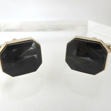 Vintage Swank Black Onyx Gold Tone Cufflinks, Octagonal Cufflinks,  Men's Formal Wear, Man Gift