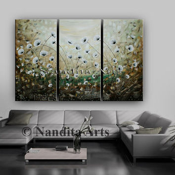 Extra Large Gold and White Flower Painting, Floral Wall Art, Landscape Poppy, Acrylic Artwork on Canvas, Wall Decor By Nandita Albright