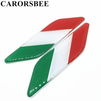 CARORSBEE 1 Pair Aluminum+Epoxy Italian Italy Flag Sticker Badge Emblems Decal Decor For Auto motorcycle motocross bike Notebook