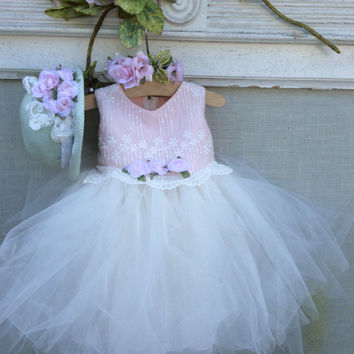 """LUCY"" Baby girl tutu dress-infant tutu-photoprop-bridal"