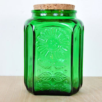 Vintage Wheaton Green Glass Storage Jar, Cork Lid, Embossed Sunflower, Kitchen Canister