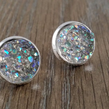 Druzy earrings- ab light grey drusy silver tone stud druzy earrings