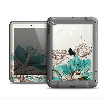 The Vintage Teal and Tan Abstract Floral Design Apple iPad Air LifeProof Nuud Case Skin Set