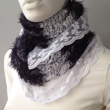 Black and White Infinity Chunky Scarf with removable brooche