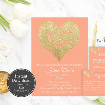 Coral Baby Shower Invitation Printable, Instant Download, Gold Glitter, Peach Baby Shower Invite, Baby Shower Invite Template, DIY, Digital