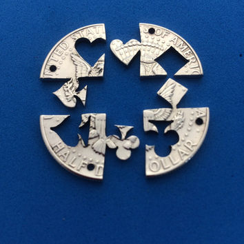 Card Suits, Hearts, Spades, Clubs, Diamonds, Interlocking, Friendship necklace or key chains