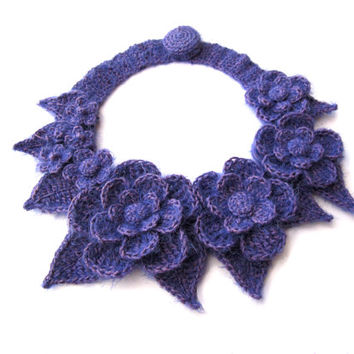 Crochet flower soft necklace,crochet flower collar,mohair,cachmere,flowers and leaves,gift for her,christmas gift,lavender,violet,elegant