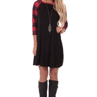 Black Dress with Red Plaid Sleeves