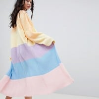 Rokoko rainbow stripe maxi cardigan at asos.com