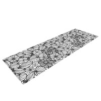 "Julia Grifol ""Candy Flowers In Black"" Gray White Yoga Mat"
