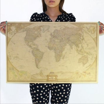 Vintage Retro Paper World Map Antique Poster Wall Chart Home Decoration 72.5*47.5cm = 1946391236