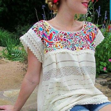 Mexican Oaxaca Blouse Floral Embroidery Beige
