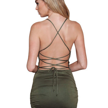 Women's Sexy Summer Party Army Green Maxi Dress