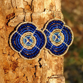 Cobalt and Gold Maasai Beaded Earrings Flower Shape by Hieropice