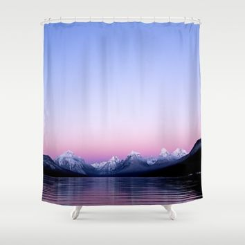pastel mountain lake sunset Shower Curtain by 2sweet4words Designs