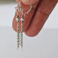 VALENTINE'S DAY, Silver Earrings, Long Dangle Delicate Earrings Silver Chain Nugget Simple Modern Everyday Jewelry