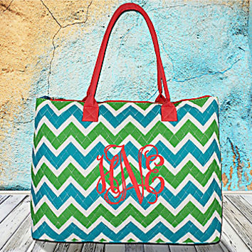 Lime and Turquoise Chevron Quilted Large Shoulder Tote with Coral Trim