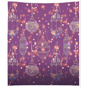 Bohemian Lamp Tapestry With Sparkles Purple And Blue Wall Hanging Moroccan