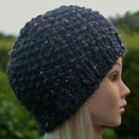 Hand Knit Hat Women's hat- Rustic Mega Chunky with wool- beanie hat- navy blue denim- winter hat- women accessories
