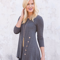 Far From Here Tunic Top - Charcoal