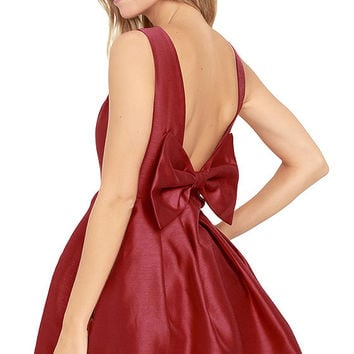 Bow Me a Kiss Wine Red Backless Dress