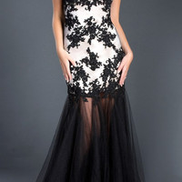 Black Label Couture 48 Sheer Illusion Lace Evening Gown Prom Dress