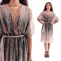 70s Semi Sheer Draped Plunging Neckline Butterfly Sleeved Midi Boho Disco Chic Dress 1970's Vintage Clothing Womens Size Small Medium