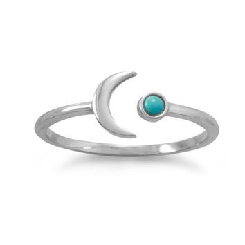 Sterling Silver 2.5mm Genuine Turquoise Open Crescent Moon Ring