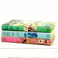 Book Stack - Childrens Old Vintage Books - Pinocchio, Robin Hood, Robinson Crusoe