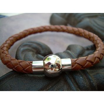 Saddle Leather Bracelet with Stainless Steel Magnetic Clasp - MB09  Urban Survival Gear USA