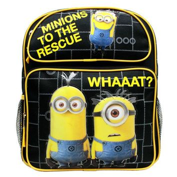 "Despicable Me Minions 14"" Blue School Backpack Minions To the Rescue. Whaaat?"
