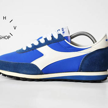 NOS 80s Vintage Diadora Orion sneakers / Deadstock Trainers / Blue White Running Jogging kicks / made in Italy