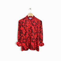 Vintage Pendleton Floral Rose Blouse Red Holiday Party Top  - m