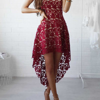 Sunny Day Fashion Street Cute Lace Floral Dress