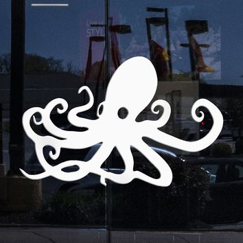 Window Mural and Wall Vinyl Art Decal Sticker Octopus Ocean Marine Sea Decor Unique Gift M488w