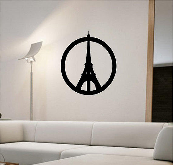 Peace Sign Bedroom Accessories: Peace Sign Paris Eiffel Tower Wall Decal From