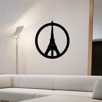 Personalized Street Signs >> Peace Sign Paris Eiffel Tower Wall Decal Sticker Art Decor ...