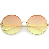 Women's Oversize Indie Gradient Flat Lens Round Sunglasses A892