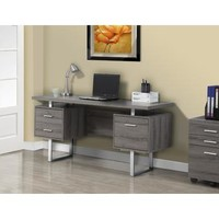 Monarch Specialties Dark Taupe Reclaimed-Look Silver Metal Office Desk I 7082