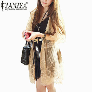Zanzea 2017 New Summer Women Retro Floral 3/4 Flare Sleeve Sheer Lace Crochet Loose Long Cardigan Blouse Shirt Outwear Sexy Tops