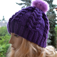 Knitted purple cap/hat - FUR POMPOM Women's Hat Winter Women Hat Slouchy Beanie Slouchy Hat Winter Beanie Knit Hats Women Slouchy Beanie