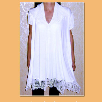 Crochet lace tunic/dress  white summer tunic  crochet by BMaja