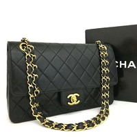 CHANEL Double Flap 25 Quilted CC Logo Lambskin w/Chain Shoulder Bag Black/p255