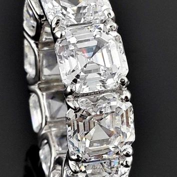 A Museum Perfect 10TCW Asscher Cut Russian Lab Diamond Eternity Ring