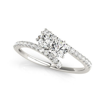 "I Love Us™  Two-Stone Ring 1/2 ct tw Diamonds 14K White Gold  ""My Best friend is My true love™"""